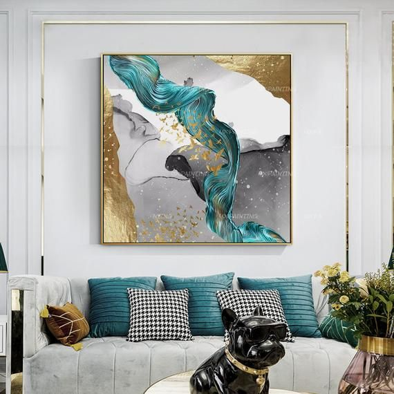Gold Art Abstract Paintings On Canvas Art Gold Emerald Green Etsy Abstract Art Painting Modern Art Abstract Canvas Painting