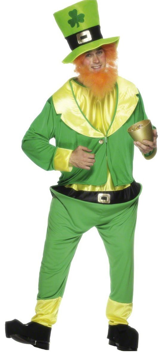 Irishman costume: This Irishcostume for men consists of a hat, a beard, a jacket and jumpsuit. The hat is quite big, with a clover on the front and a overhanging black headband that wraps around the hat. The red...