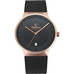 OBAKU Hav - night // rose gold and black stainless steel watch
