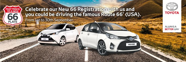 Toyota Leicester Loughborough Offers Route 66 prize draw.  Visit for more information http://www.farmerandcarlisle.co.uk/new-offers/route-66/