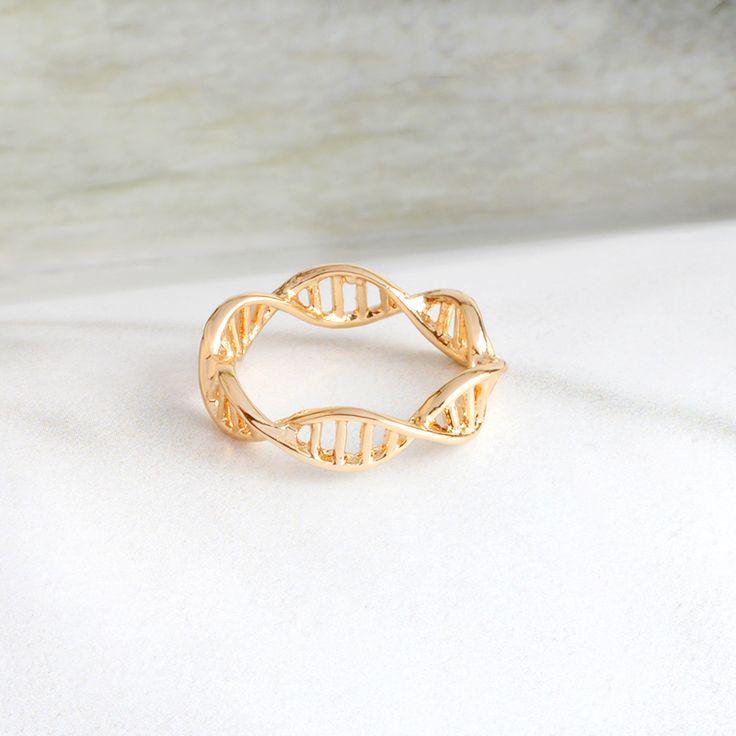 Minimalista Anel Para As Mulheres Ciência Biologia Química da Molécula de DNA Helix Anéis De Prata De Ouro Da Moda Jóias Presentes da Graduação do Médico em Anéis de Jóias & Acessórios no AliExpress.com   Alibaba Group