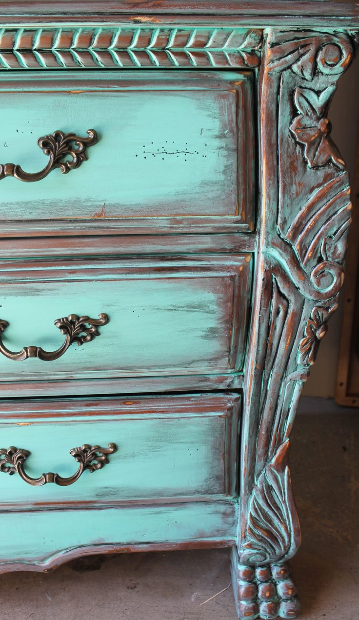 Aqua Turquoise Distressed French Armoire Dresser With Aged Copper/Ebony Patin...