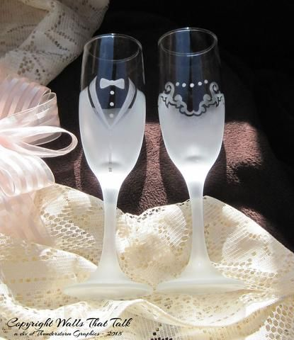 Celebrate your special day with these unique Permanently Frosted Bride and Groom Toasting Flutes. (Set of 2) Makes an affordable and thoughtful gift that will be treasured for many years. The design i