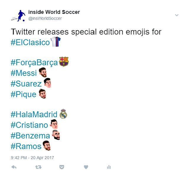 Twitter has geared up for the El Clasico between Real Madrid and Barcelona next Sunday by unveiling a series of new emojis for each club and their star players