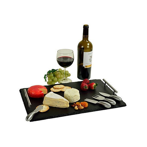 Slate Cheese Board w/ Tools Black Cheese Boards & Cheese Board Sets (220 DKK) ❤ liked on Polyvore featuring home, kitchen & dining, serveware, food, black, filler, picnic at ascot cheese board, black cheese board, black serveware and cheese board