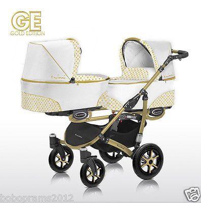 Twinni 2 in 1 - Double Pram Pushchair Stroller Twins, Gold Edition, Width-70cm