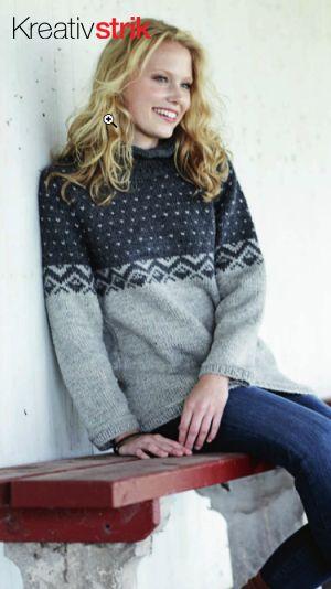 Strik sweater i økologisk bomuld - opskrift fra Alt om håndarbejde