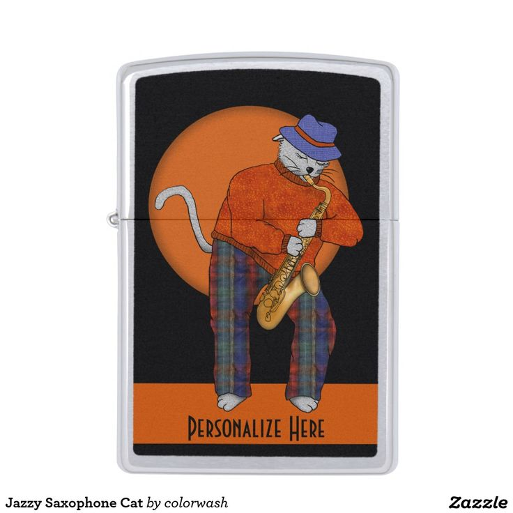 Jazzy Saxophone Cat Zippo Lighter - This Zippo is for the sax player, music lover, cat person, and anyone else who enjoys amusing graphics! Easily personalize it. #Zippo #saxophone #jazz
