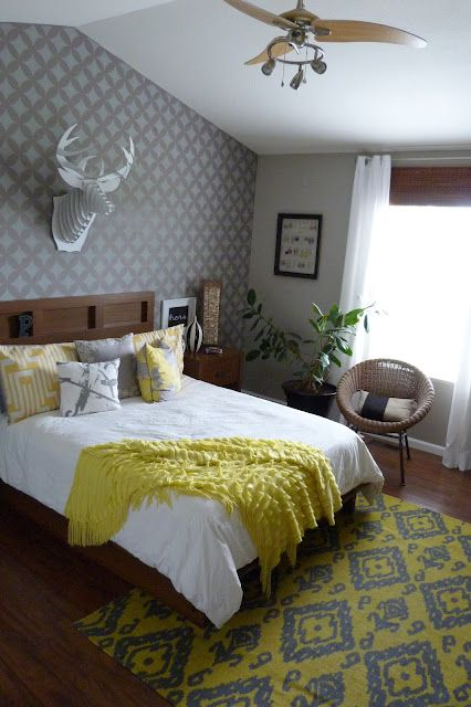 gray and yellow bedroom stenciled wall and i still love the deer head - Bedroom Stencil Ideas