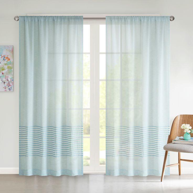 Amie Dobby Stripe Window Sheer - Aqua - (50x63), Blue
