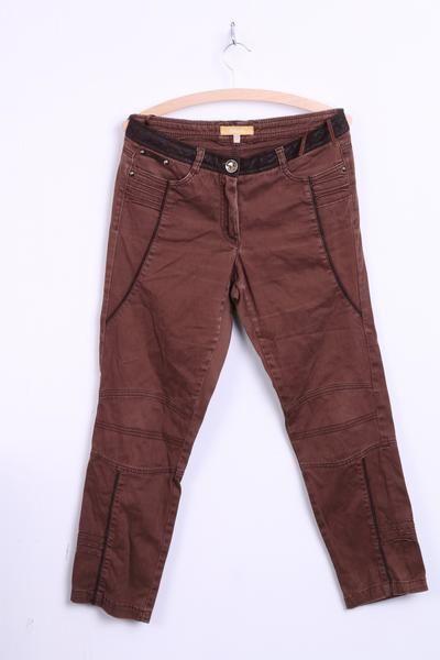 BIBA Womens 12 Capri Trousers Brown Washed Look Cotton - RetrospectClothes