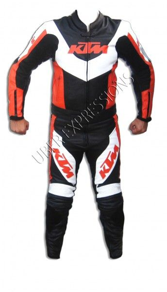 KTM Racing Black Orange 2 piece motorbike racing leather suit