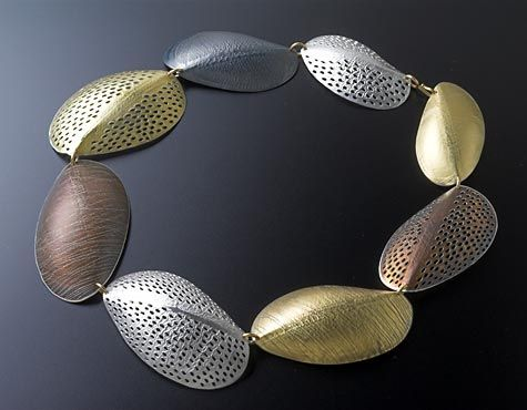 Necklace | Jane Adam.  Fine silver, silver and 18 kt gold bimetal with oxidation.