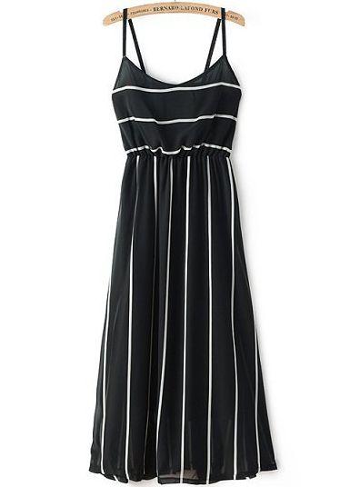 White Spaghetti Strap Striped Slim Dress - Sheinside.com