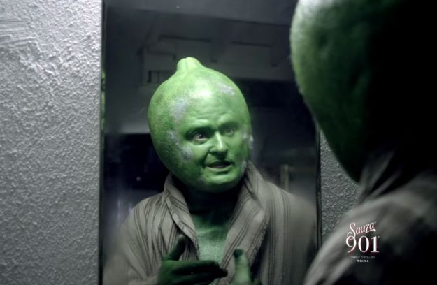 And this is Justin Timberlake as a terrifying lime-human hybrid. | Justin Timberlake's New Tequila Commercial Is Nightmare Fuel