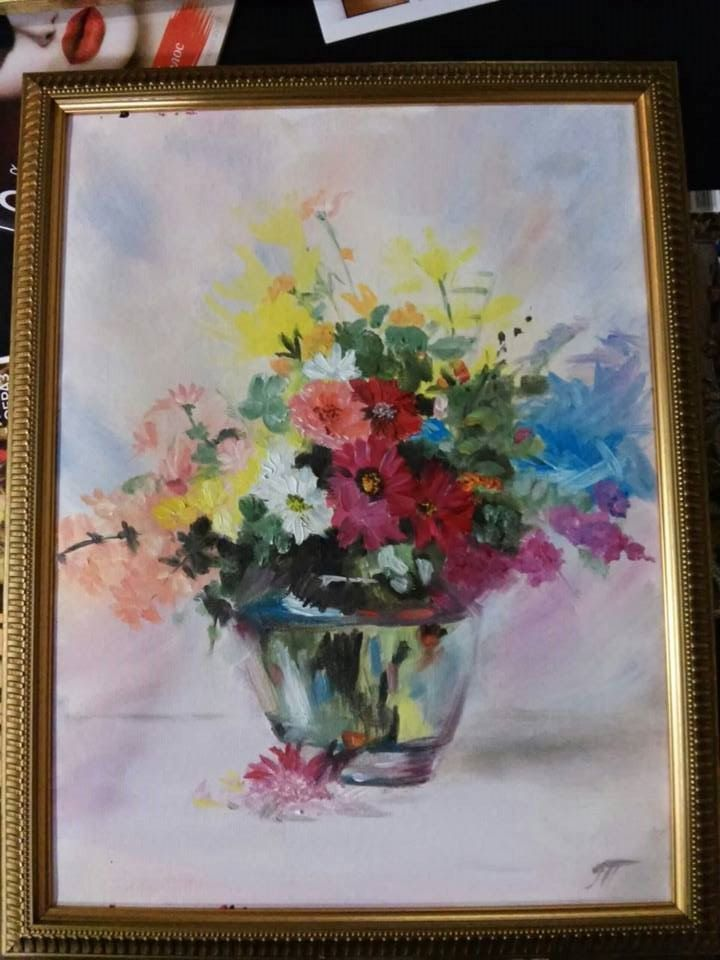 View and buy Bouquet of flowers in the frame 30*40 oil painting by ClaireArtCafe on Etsy