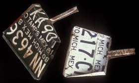License Plate Dustpans. Maker unknown, Michoacan, Mexico. 1970s and 1980s. License plates are bought by the kilo from professional collectors and made into dustpans and other household implements by cottage industries.
