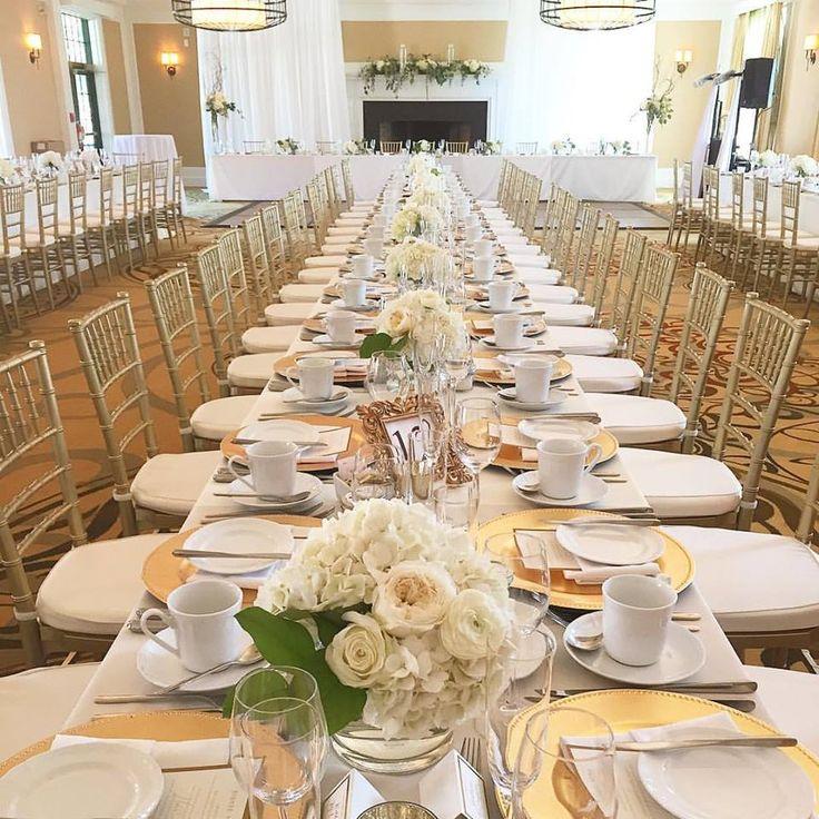 Beautiful long table set-up. Gold colour palette.