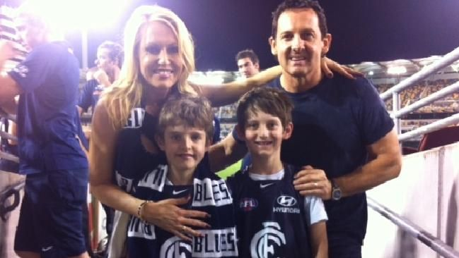 Lee Kernaghan with his wife Robbie and their two sons Jet and Rock.