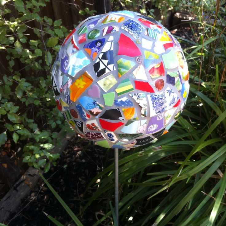 Commission piece. 200mm garden ball on metal rod, multicoloured china, glass, mirror and millefiori