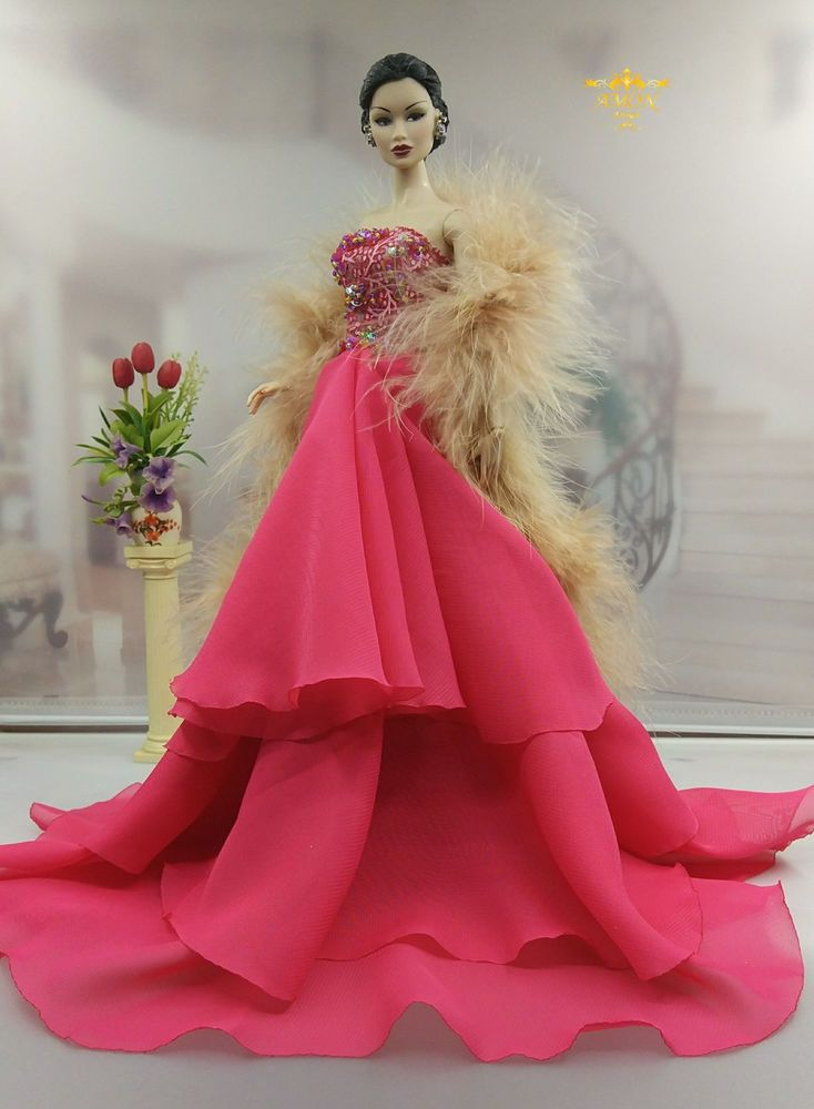 Eaki Rainbow Evening Dress Outfit Gown Coat FoR Silkstone Fashion Royalty Model