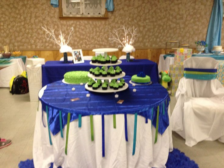 Ideas For Baby Shower Cake Table : Baby shower Cake table Royal blue, green and turquoise ...