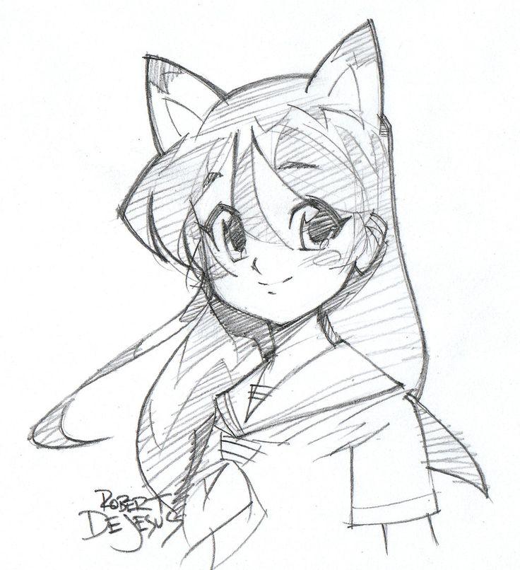 Catgirl Sketch by Banzchan.deviantart.com on @DeviantArt