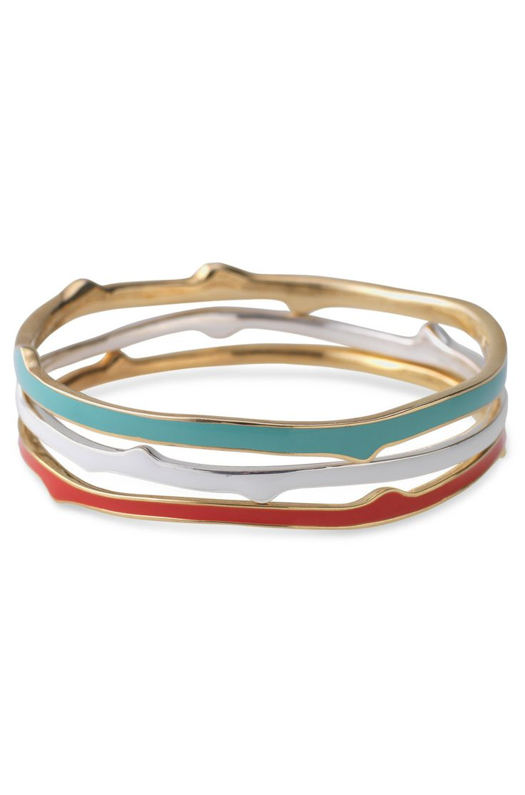 Stella & Dot coral, turquoise & white enamel bangles
