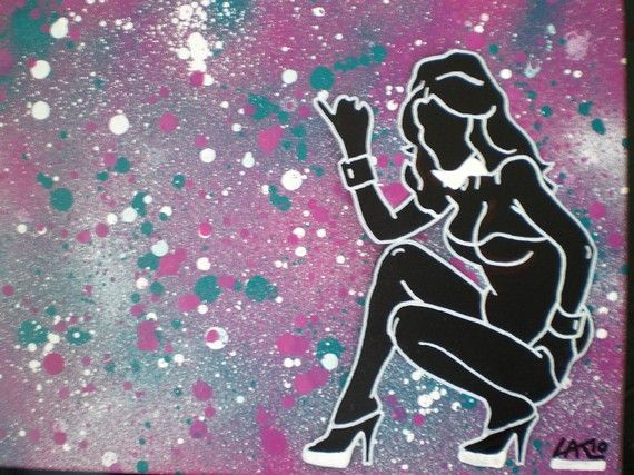 Dancer painting on canvas stencil art spray paints aerosols dance stripper all art street art woman spray can art pinks graffiti art canvas   – Abstract Graffiti Shop on Etsy