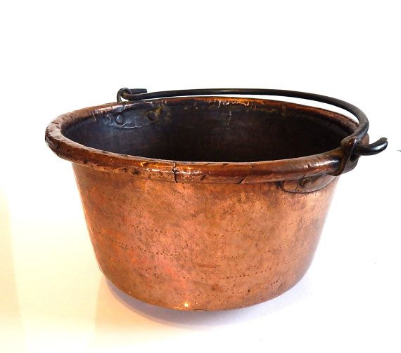 antique copper cauldron french from 1800s very large solid copper artisanally wrought - Copper Pots