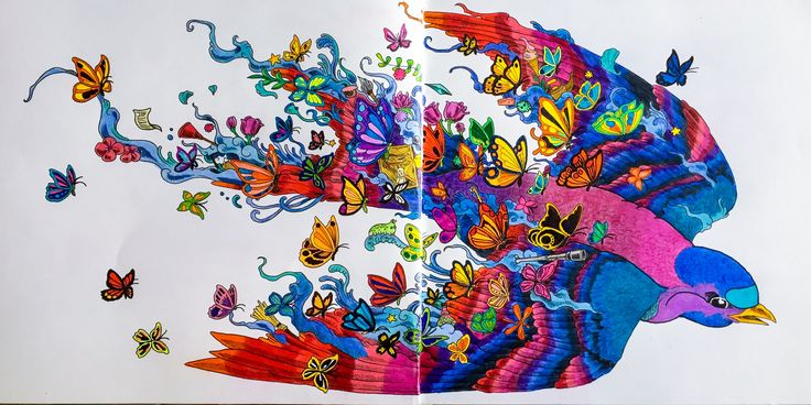 Flying bird surrounded with butterflies.  Coloured by Judy Boechler