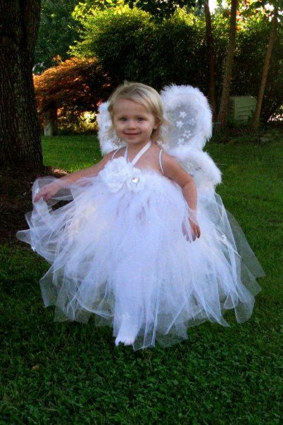 angel tutu halloween costume custom made with wings photo halloween christmas fairy princess pageant child clothing size to 6 - Kids Angel Halloween Costume