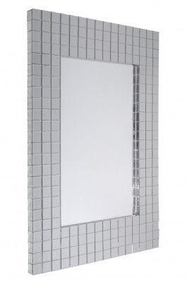 Lustro Nusco  Wyjątkowe lustro Nusco w ozdobnej ramie wyklejonej kwadratowymi fazowanymi kawałkami lustra (również na krawędzi wewnętrznej i na bocznej) co robi fantastyczne wrażenie. Wspaniale pasuje do przedpokoju, do salonu i do sypialni.