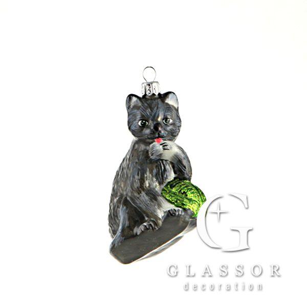 Weihnachtsschmuck - Graues Kätzchen | Glassor
