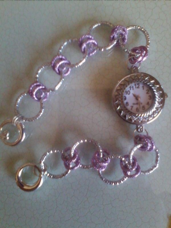 Orologio bijou con catenella diamantata in alluminio lilla- argento