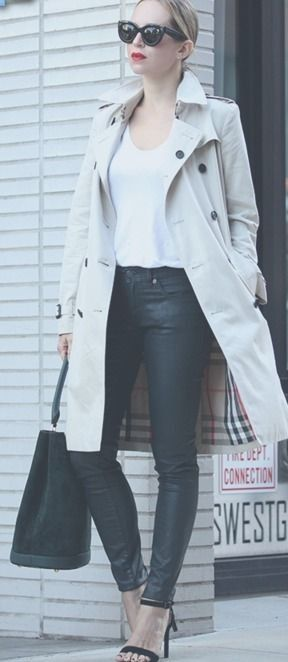 Wear the classic trench coat with a simple white V-neck tee, leather pants and sandals. Via Helena Glazer Trench/Pants/Bag: Burberry, T-shirt: Splendid, Shoes: Steven. Fall Outfits| Street Wear, & Outfits