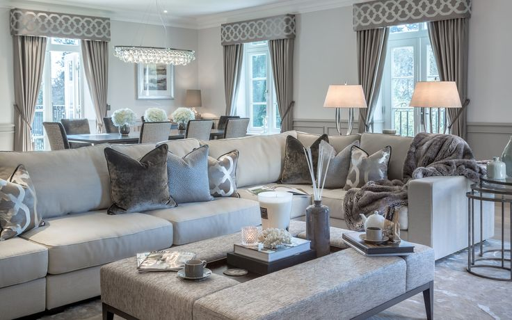 The neutral metallic tones in our latest project's living room add a sumptuous quality of sophistication and class to the design; the opulent theme continued in the luxurious Andrew Martin coffee table. #interiordesign #luxurylife #luxury #london #luxuryproperty #luxuryhomes #londonproperty #luxuryinteriors