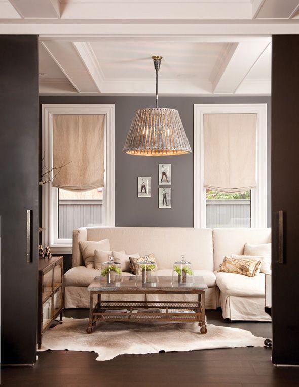 dark grey wallsWall Colors, Grey Walls, Living Rooms, Romans Shades, Livingroom, White Trim, Gray Walls, Paint Colors, Painting Colors