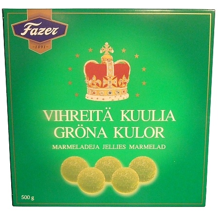 Fazer Gröna Kulor 500g (GP je 100g: 2,49€) grüne Kugeln aus Finnland