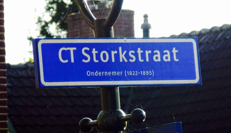Straatnaambord CT Storkstraat, Tuindorp, Hengelo Nederland