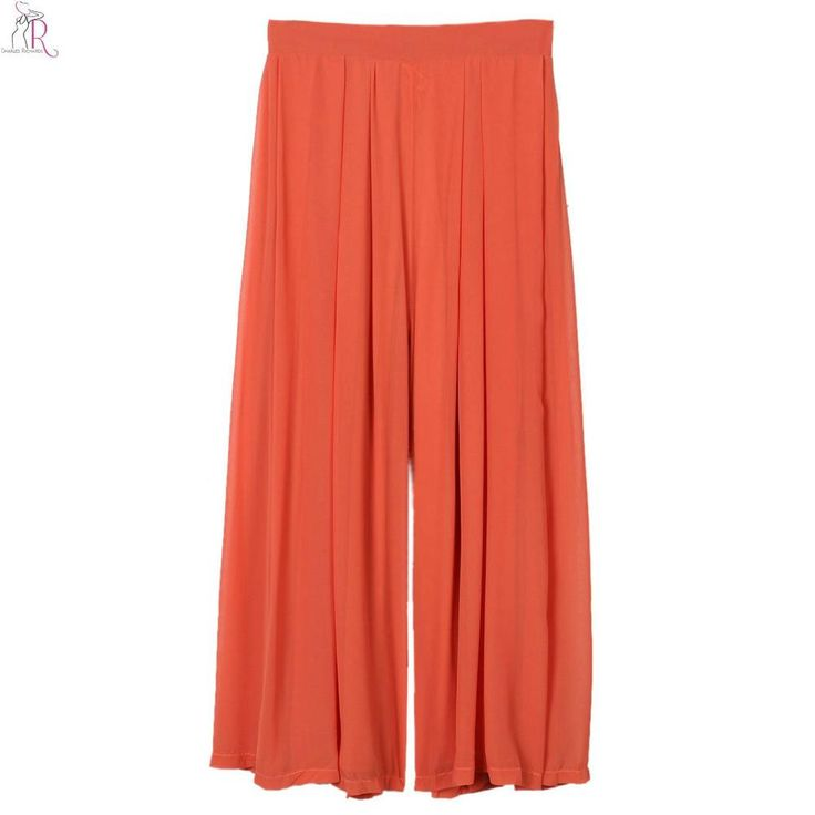 Women Chiffon Palazzo Pants Orange Wide Leggings Harem Gaucho Elastic High Waist Loose Casual 2017 Spring Fashion New