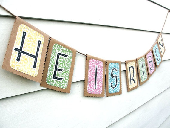 HE IS RISEN Easter Banner Rustic Kraft Banner by LazyCaterpillar, $22.50