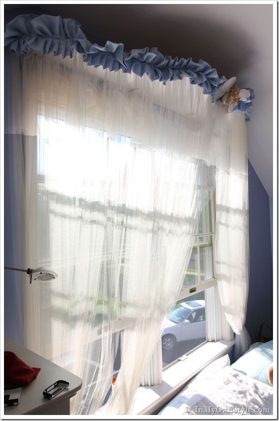 DIY::Window Treatment Tulle U0026 Ribbon Bed Canopy | In My Own Style