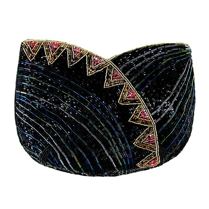 On The Fringe Art-Deco Beaded Evening Clutch Handbag IKI-20
