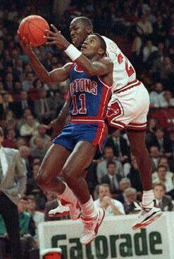 Isiah Thomas (Detroit Pistons) and Michael Jordan