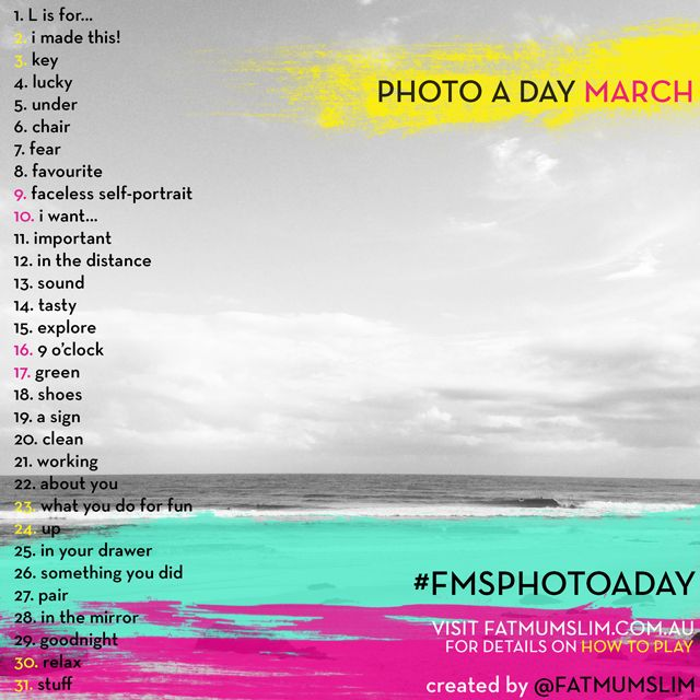 Photo a day challenge lists: see them all here - Fat Mum Slim