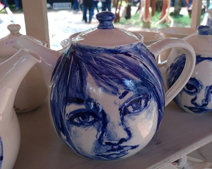 Large  teapot - face - cobalt blue