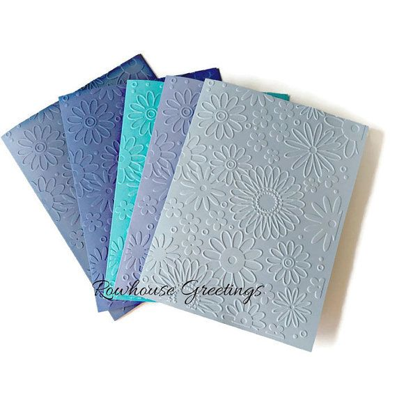 Blank Embossed Floral Notecards  Shades of by RowhouseGreetings
