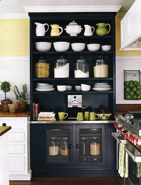 Love This Black Open Shelves Kitchen Cabinet/armoire