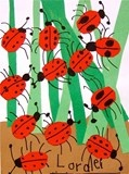 Ladybugs; could be a collage or printmaking project. K or 1st